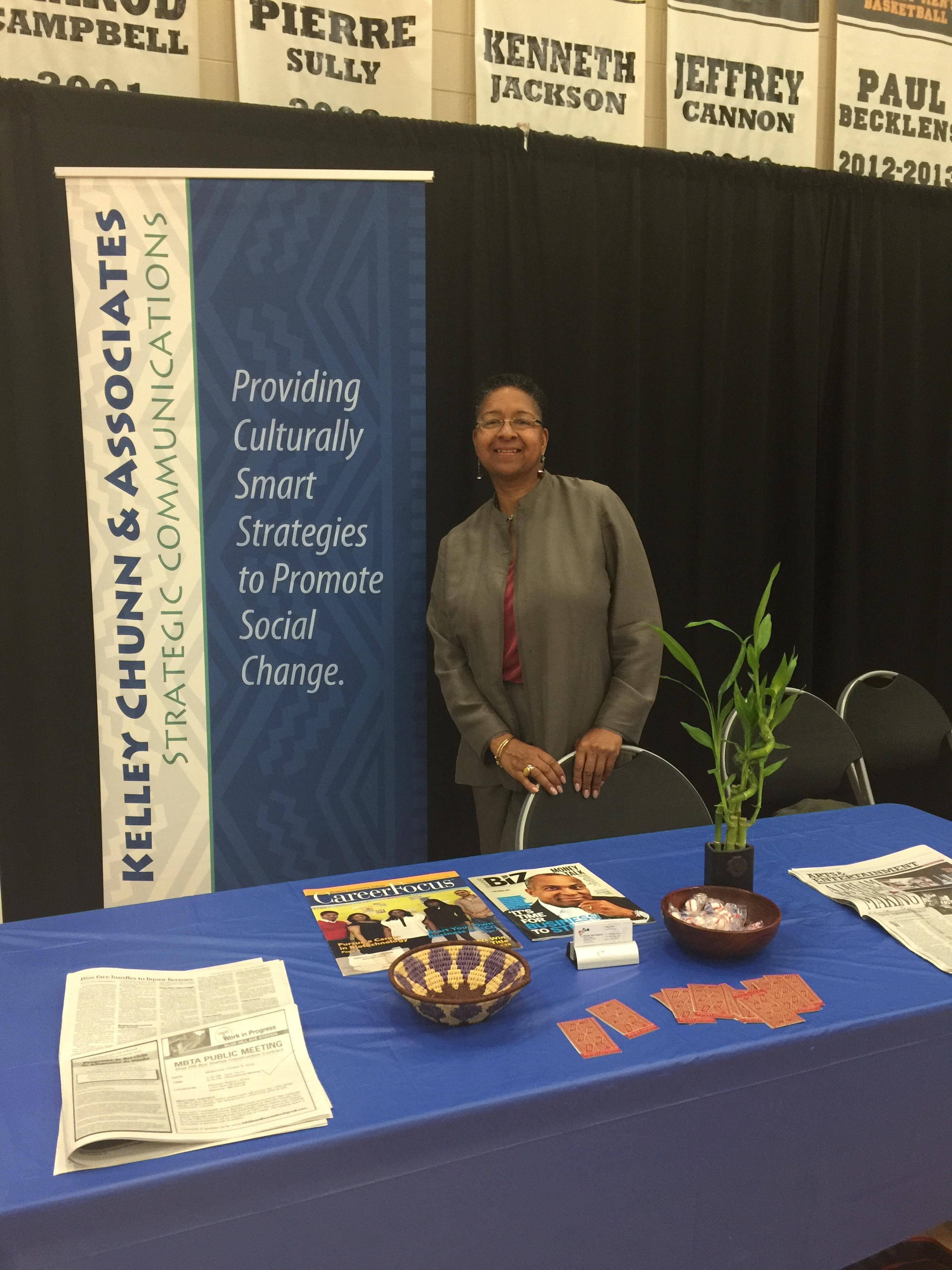 Kelley Chunn attends the Commonwealth of MA Small Business Trade Fair at Roxbury Community College.
