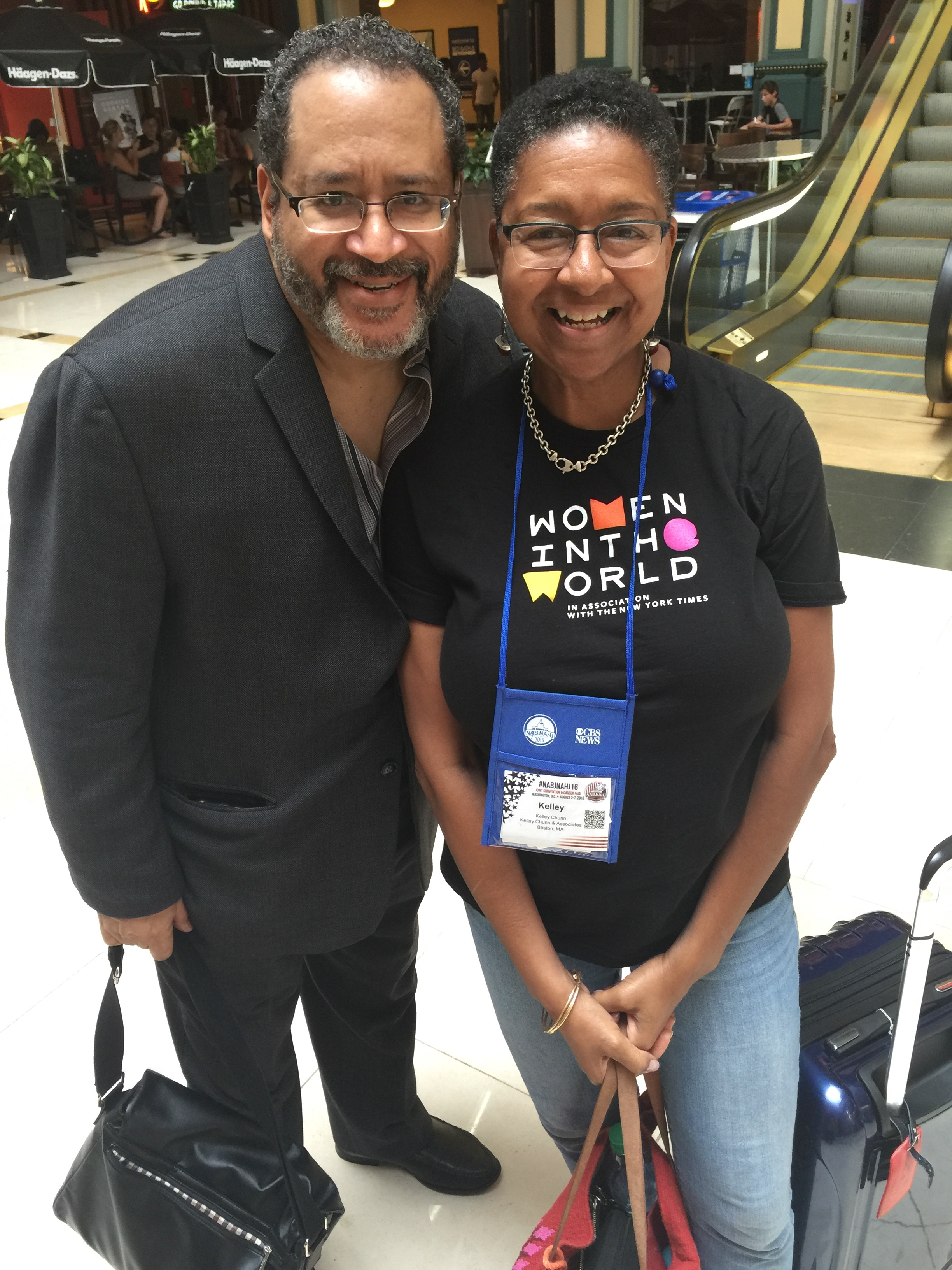 Kelley Chunn with Dr. Michael Eric Dyson at the National Association of Black Journalists Convention in Washington, D.C.